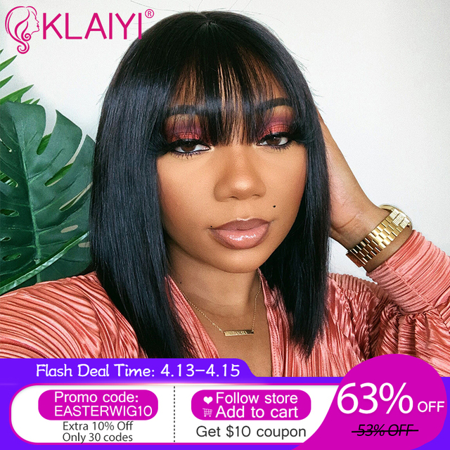 $ US $54.05 Klaiyi Hair Straight Bob Human Hair Wigs With Bang 8-14 inch Pre Plucked Brazilian Remy Hair 13*4 Lace Front Wig 150% Density