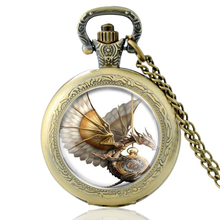 High Quality Vintage Steampunk Dragon Glass Dome Quartz Pocket Watch Classic Men Women Punk Style Necklace Pendant Gifts