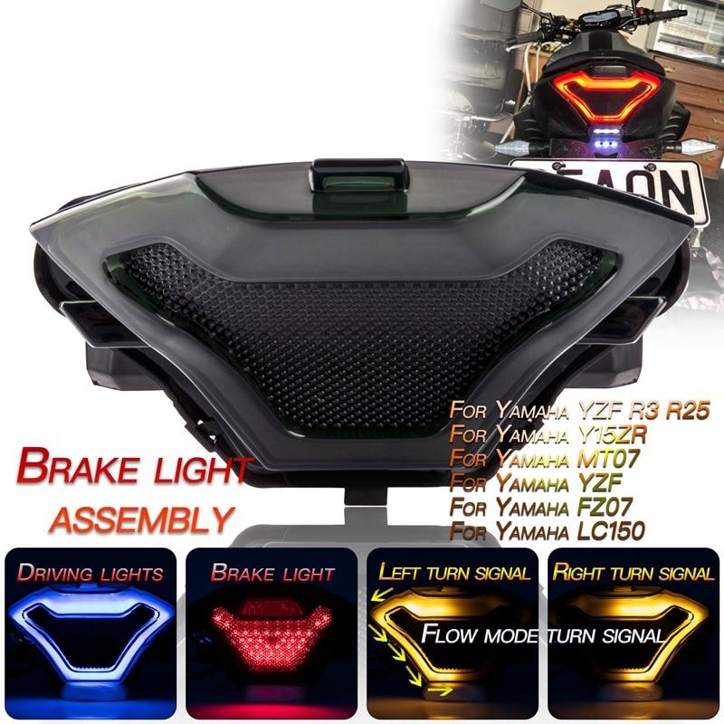 Motorcycle Tail Light Brake Turn Signal Lamp Flowing Flash for Yamaha YZF R3 R25 Y15ZR MT03 MT07 FZ0
