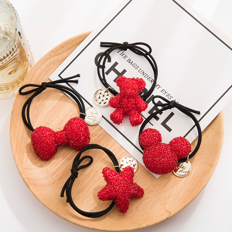 New Women Girls Lucky Red Bow Bear Mickey Star Elastic Hair Bands Ponytail Holder Cute Hair Ornament Headband Hair Accessories