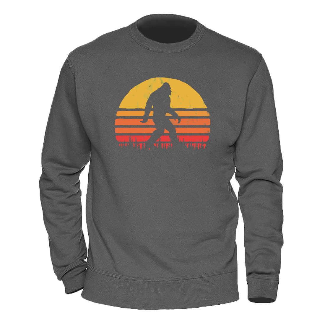 남성 풀오버 Bigfoot Silhouette Sun Hoodies 2020 따뜻한 겨울 가을 스웨터 패션 캐주얼 탑스 Streetwear Retro Hoody