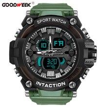 GOODWEEK Outdoor Men Sport Watch Waterproof Digital Quartz Watches Mens Military Dual Display Swim Relogios Masculino