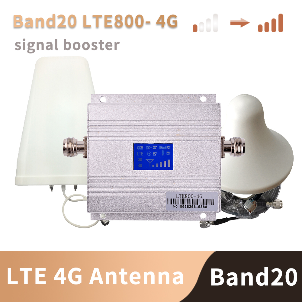 4G LTE 800MHz Mobile Signal Booster 4g Cell Phone Amplifier 4G Cellular Signal Repeater With Logarithmic + Ceiling Antenna Kit
