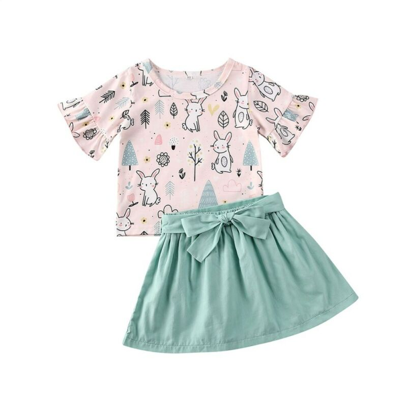 1-5T Girls Summer Clothes Set Toddler Kids Baby Girl Easter Outfits Bunny Ruffle T-Shirt Top Green Skirts Girls Clothes Set