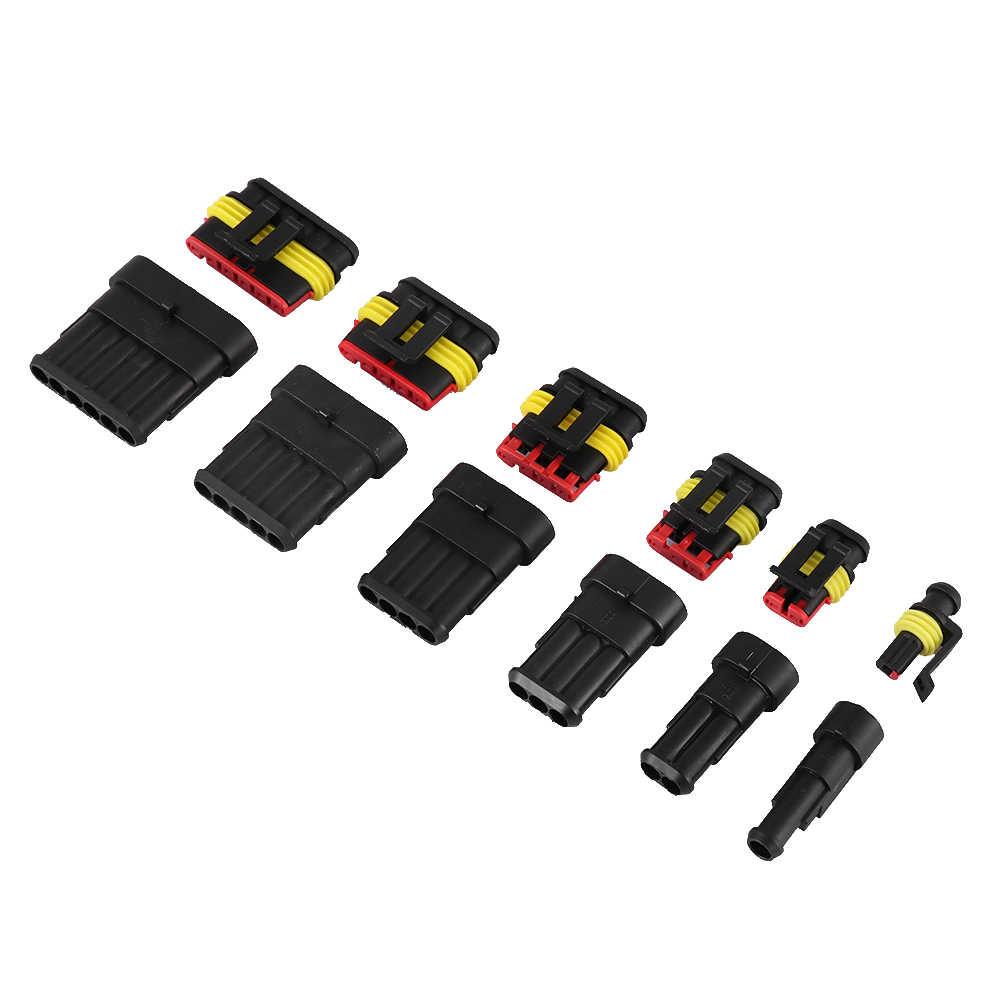1Sets 1 2 3 4 5 6 Pin Steker Pria dan Wanita Seal Kit Listrik Plu Mobil Tahan Air konektor Mobil Aksesoris