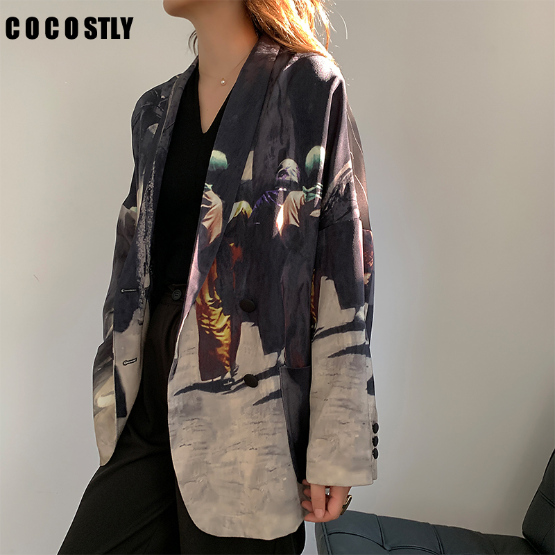 2020 New Blazer Women Suit Double Breasted Casual Pattern Print Women Jacket Trendy Office Blazers Female Jackets veste femme
