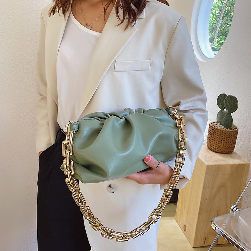 2020 Day clutch thick gold chains dumpling Clip purse bag women cloud Underarm shoulder bag pleated Baguette pouch totes handbag 4.7 4