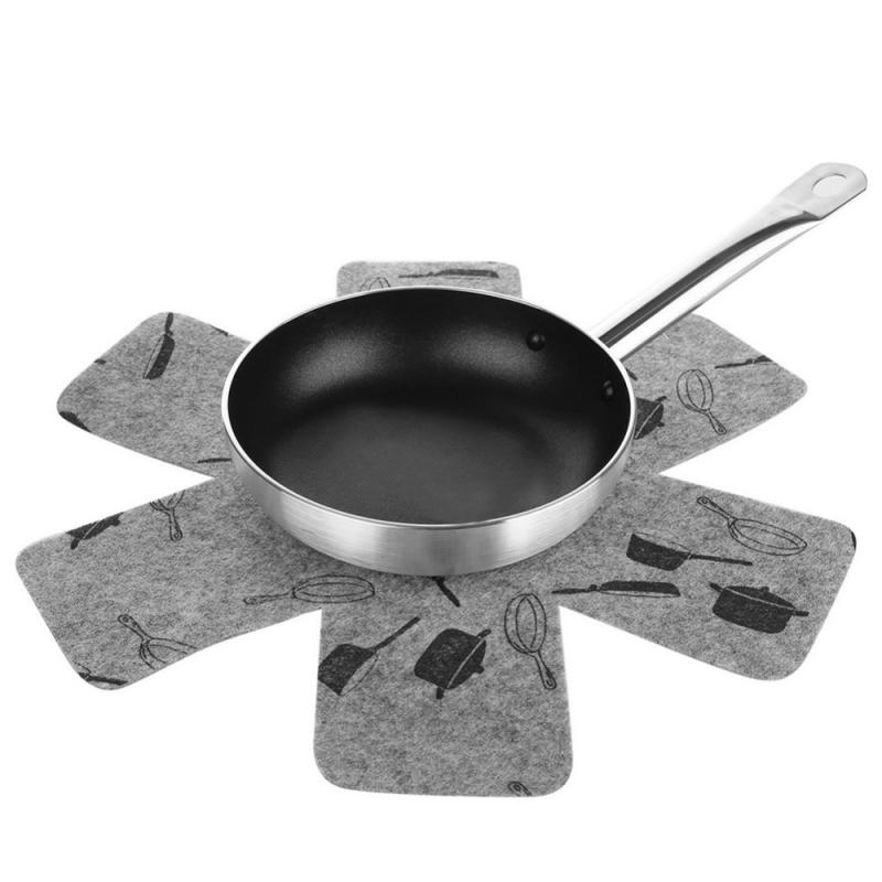 3Pcs Pan Protectors Gray Print Premium Divider Pads To Prevent Scratching Separate & Protect Surfaces Kitchen Tools For Cookware(China)