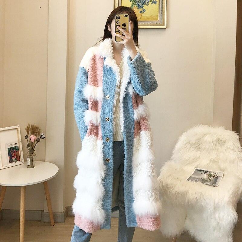 Natural Fur Coat Female Vintage Long Sheep Shearling Jacket Women Clothes 2020 Korean Real Double Faced Fur Coats Top Hiver 2725