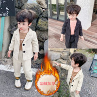 Blazer Suit for Boys Clothes Children's Gentleman Costume 2019 Autumn Winter New Baby Boys Striped Blazer Sets Kids Velvet Suits