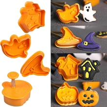 4pcs/set Halloween Pumpkin Ghost Theme Plastic Cookie Cutter Plunger Fondant Sugarcraft Chocolate Mold Cake Decorating Tools 68pcs set sugarcraft cake decorating tools cake plum flower fondant decor plunger cutter cookie pastry mold tools
