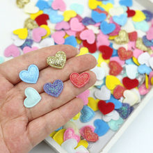 100pcs/lot 1.7*1.6cm Glitter Sequin Mini Heart Padded Patches Appliques for DIY Clothing Hat Hair Clip Fabric Sewing Supplies