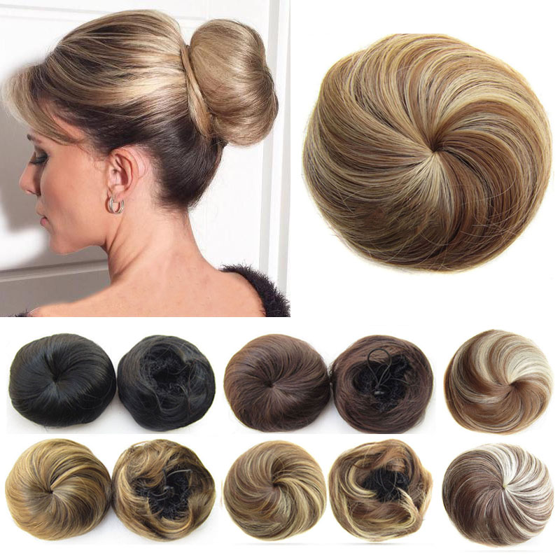 Jeedou Synthetic Hair Chignon Black Brown Mix Color 30g Hair Bun Pad Donut Chignon Rubber Band Hair Extensions Hairpieces