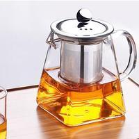 350ml 550ml 750ml isıya dayanıklı paslanmaz çelik filtreleme demlik cam kare çaydanlık çiçek çayı cezve demlik süzgeç kapaklı