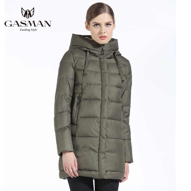 GASMAN 2019 Winter Women Down Jacket Brand Medium Length Female Thick Hooded Down Parka For Women Coat White Women Cloth Winter