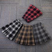 Short Skirt A-Line Plaid White Autumn Mini Plus-Size Girls Women Acrylic Above-Knee Winter