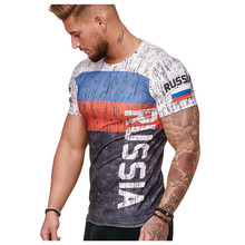 KLV Slim Fit T Shirt 2019 Summer New Men Short Sleeves Tops Tees Casual Male t-shirt  3D Print Muscle Man tshirt Fitness russian