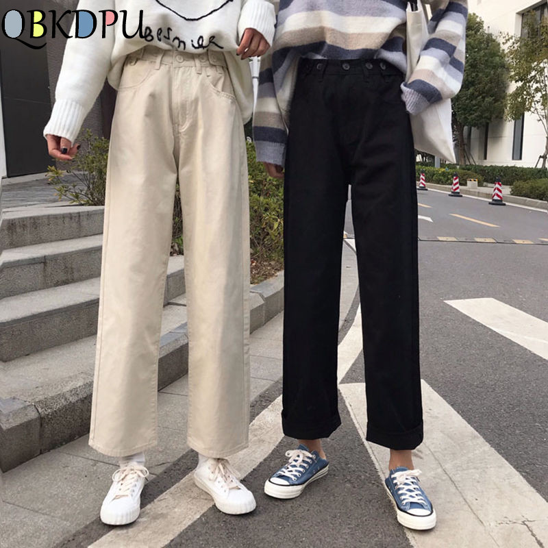 Fashion Autumn Women Boyfriend Jeans High Waist Cotton Black White Denim Pants Korean Style Female Loose Casual Wide Leg Jeans