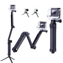 Portable 3 voies poignée étanche monopode Selfie bâton pliant trépied support pour GoPro Hero 8 7 6 5 Yi 4K Sjcam Eken accessoire