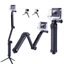 Trípode plegable de palo Selfie monopie para GoPro Hero 8 7 6 5 Yi 4K Sjcam Eken, agarre portátil de 3 vías, resistente al agua, accesorio