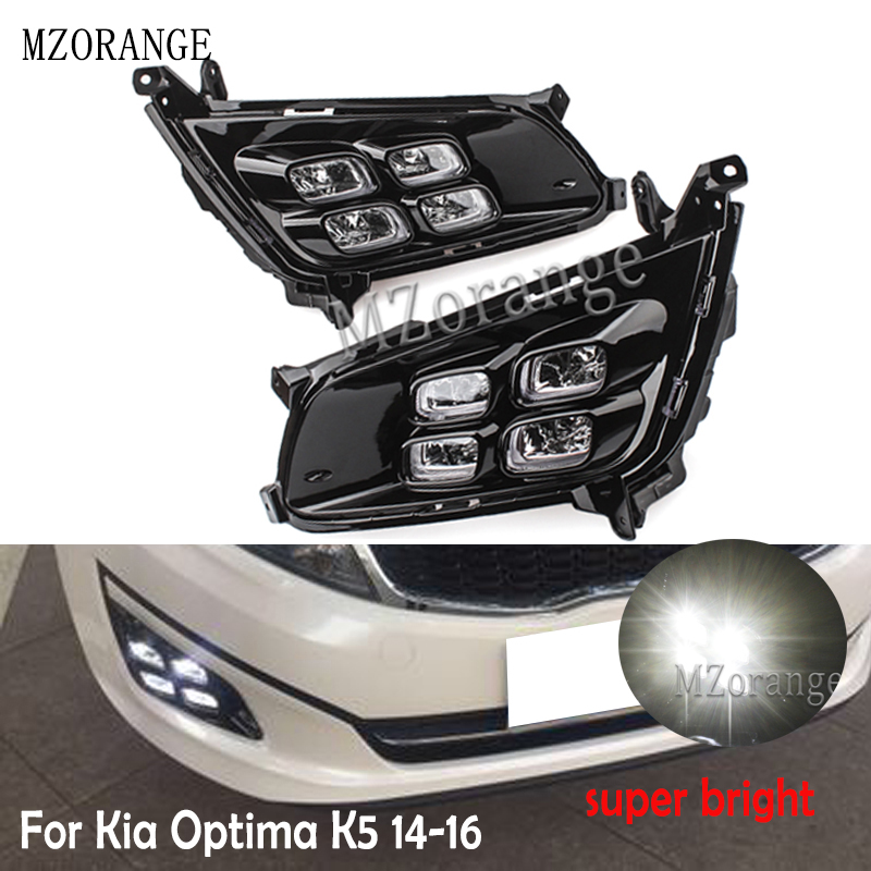 MZORANGE LED Daytime Running Light For Kia Optima K5 2014 2015 2016 Car Accessories Waterproof ABS 12V DRL Fog Lamp Decoration image
