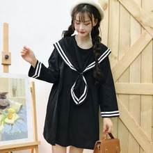 Japonais Mori fille femmes mignon Mini robe col marin noir bleu surdimensionné uniforme Kawaii Preppy Style cravate Cosplay robe DC683(China)