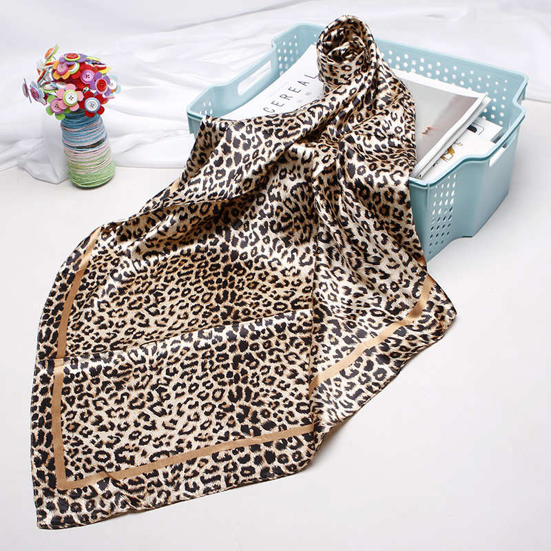 <font><b>90</b></font>*90cm Women Silk Scarf Fashion Leopard Print Square Head Scarves Lady Luxury Brand Shawls Silk Women Scarf <font><b>Foulard</b></font> Satin Hijab image
