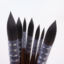 17RT cheveux synthétiques manche en bois acrylique aquarelle art brosse