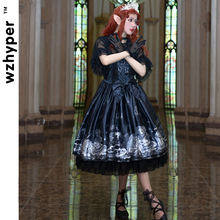 Black JSK Gothic Lolita Dress Harajuku Street Fashion Cross Cosplay Female Bow Dress Japanese Soft Sister Style Dress(China)
