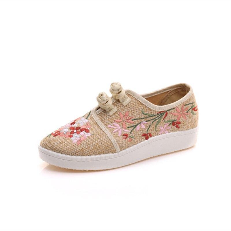 Новинка; весенняя обувь в китайском стиле; женская повседневная обувь из конопляного хлопка с цветочной вышивкой; размеры 34-43