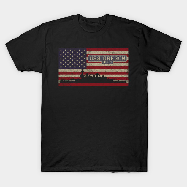 Мужская Винтажная Футболка USS с американским флагом Орегона