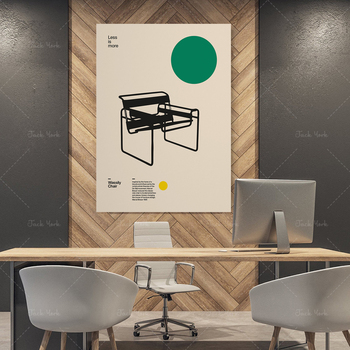Prints and Poster Wassily Chair Marcel Breuer Minimal Furniture Bauhaus Design Wall Art for Office Home Decor image