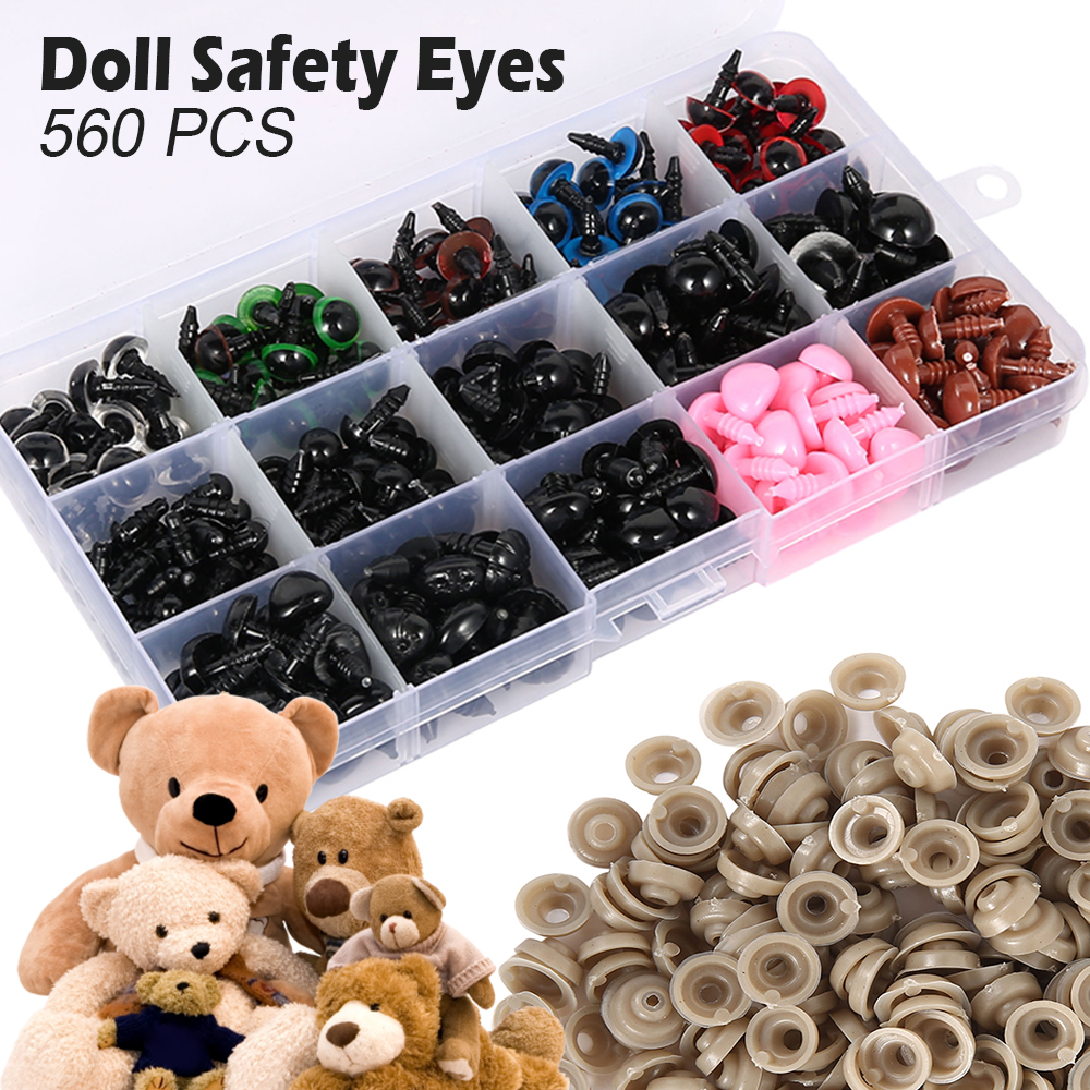 Doll Toy Accessories Plastic Doll Safety Eyes Triangle Nose w// Washer DIY Craft