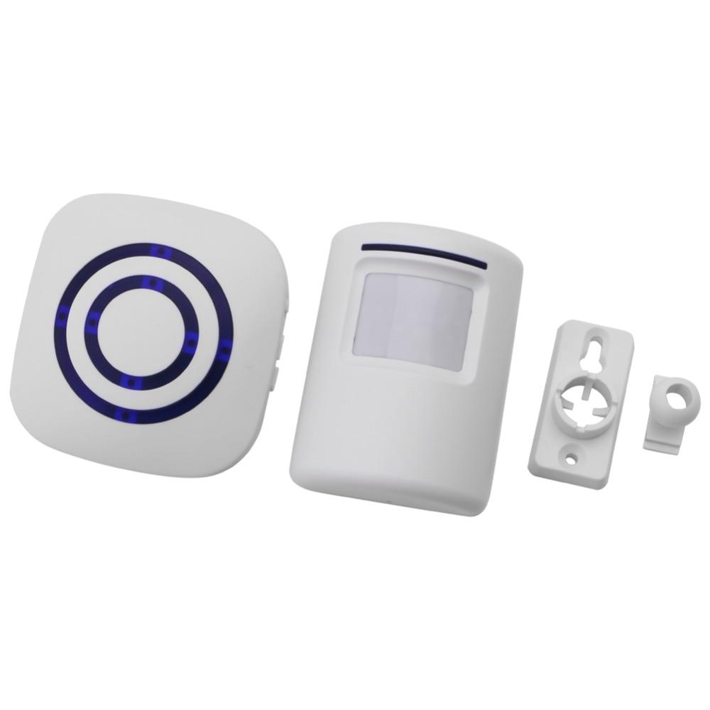 Wireless Infrared Motion Sensor Door Security Bell Alarm Chime EU/US Plug  W91F