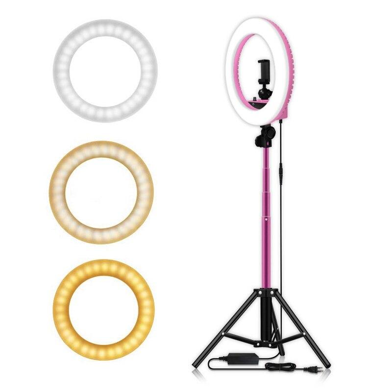 14 дюймовый Диммируемый 5500K светодиодный кольцевой светильник с 1,6 м штатив Трипод для студийной лампы фотографии YouTube фото макияж кольцевой ... - 3