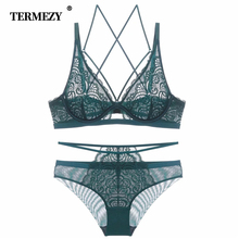 TERMEZY Sexy Lace Bra Set Women Underwear Ultra-thin Transparent Lingerie set Underwire