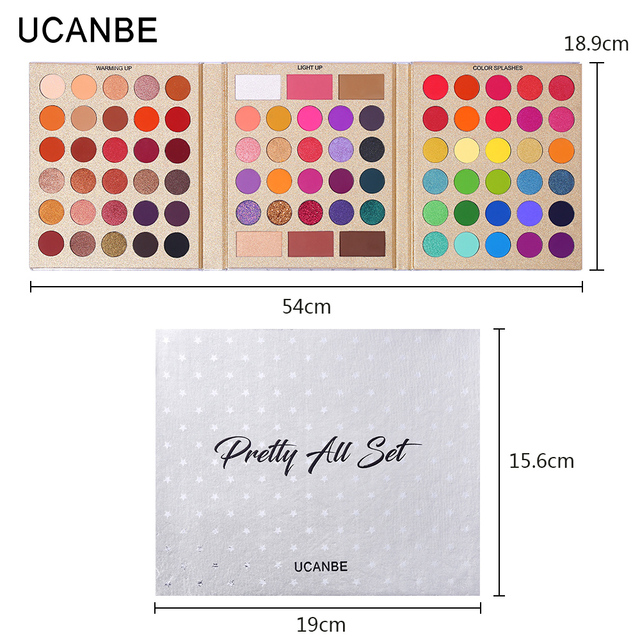 UCANBE 86 Colors All-purpose Makeup Playbook Matte Shimmer Glitter Eyeshadow with Highlight Contour Blush Eye Face Cosmetics Set 2