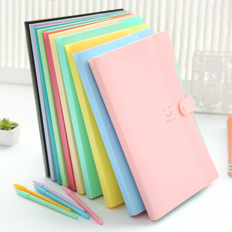 Korean Stationery Simple Multi-layer Information Papers Buckle A4 Folder Candy Color File Storage Folder 5 Into