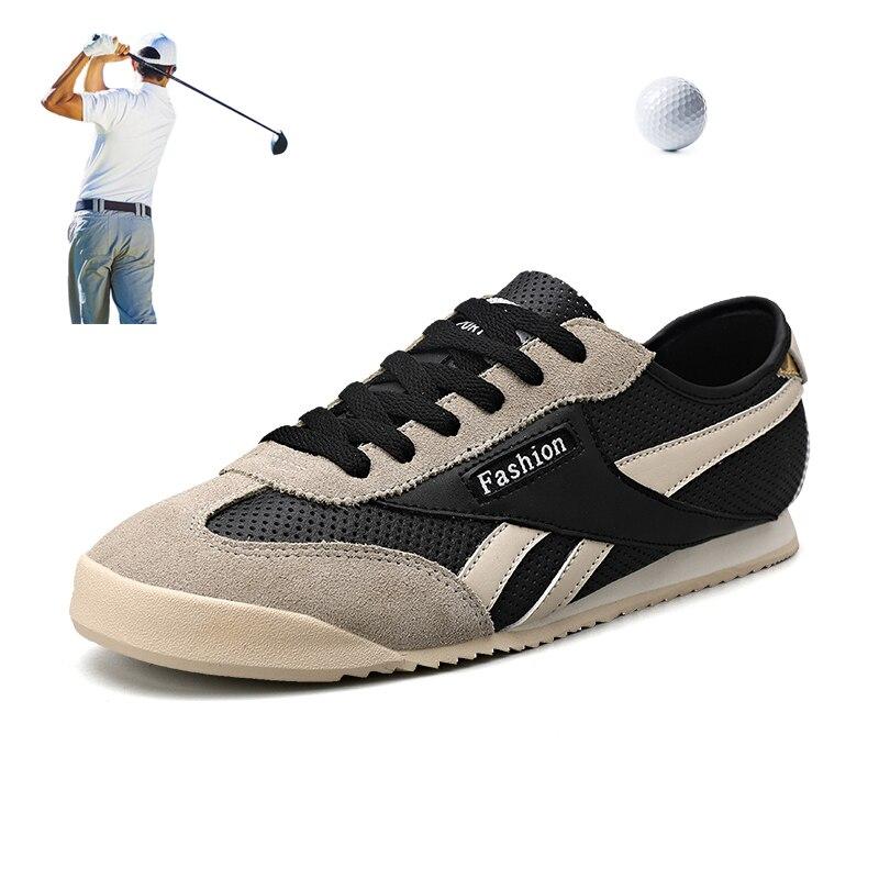 Sapatos de Lazer Couro do Plutônio Tênis de Golfe Sapatos de Treinamento Oco para Fora Homens Golfe Branco Masculino Sapatos Respirável Esporte Atlético