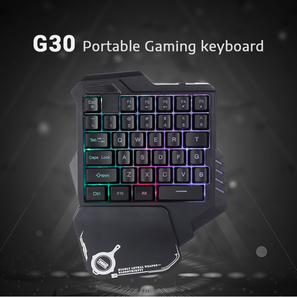 G30 One-Handed Mechanical Keyboard 35 Keys LED Backlight Wired USB Single Hand Mini Gaming Keypad