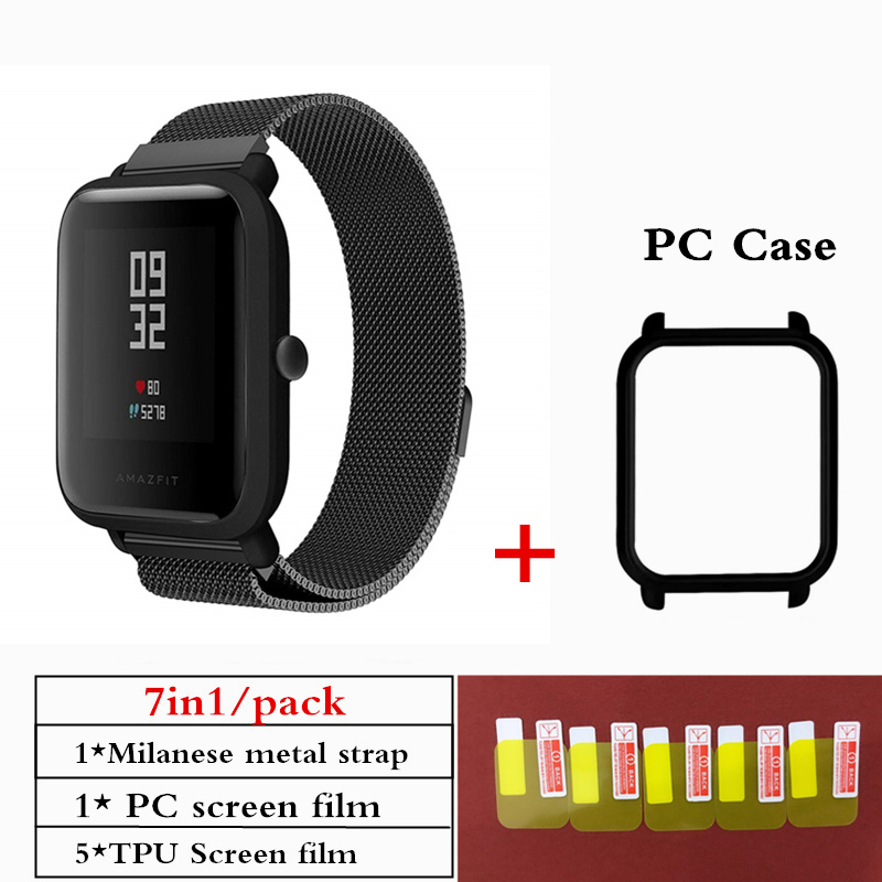 Case Amazfit Bracelet Bip-Strap Watch Screen-Protector Milanese Stainless-Steel Xiaomi