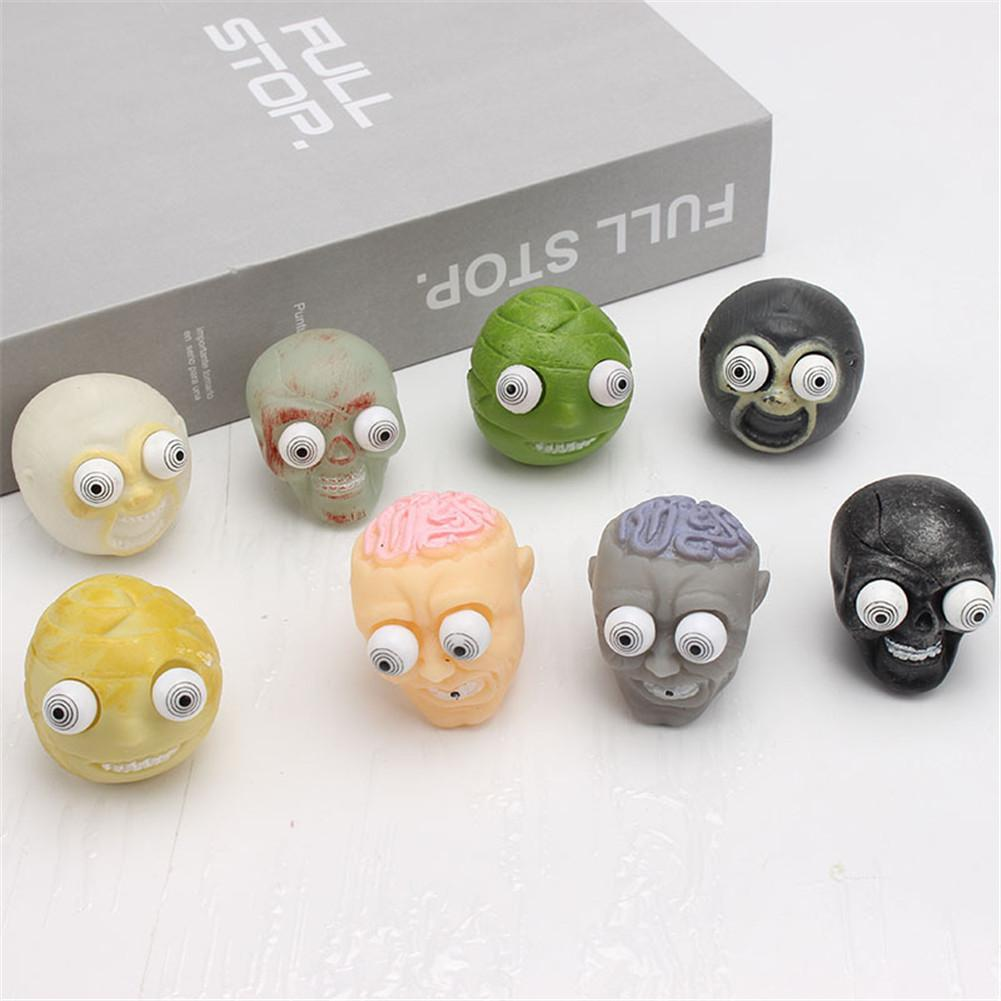8pcs/set Pinch Burst Out Eyes Zombie Head Doll Decompression Toys Vent Squeeze Toy