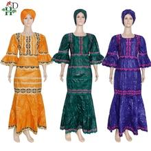 Maxi Dress Embroidery Dashiki Bazin Plus-Size Woman Ladies 4XL Vetement Turban H--D Wedding-Party