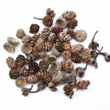 Flores falsas para manualidades navideñas, decoración del hogar para álbum de recortes, regalos de boda, cono de pino Natural, plantas artificiales, 20 Uds.