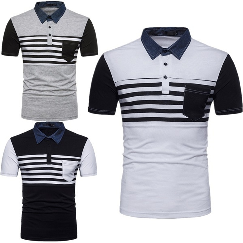ZOGAA High Quality Fashion Casual Brand Men Summer Cotton Short Sleeve Diagonal Stripes Patchwork   Polo   Shirt Men Top with Pocket