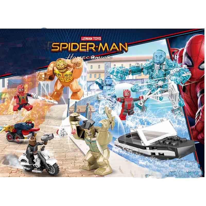 Super Heroes Spider Man Element Molten Man Battle Building Blocks Bricks Boy Toys B551 in Blocks from Toys Hobbies