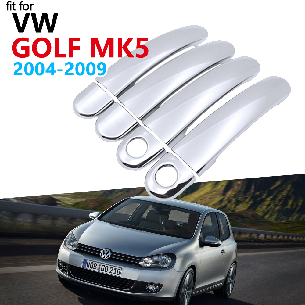 Luxurious Chrome Door Handle Cover Trim Set for Volkswagen <font><b>VW</b></font> <font><b>Golf</b></font> <font><b>5</b></font> MK5 <font><b>Golf</b></font> V Rabbit 1K <font><b>GTI</b></font> 2004~2009 <font><b>Accessories</b></font> Car Stickers image
