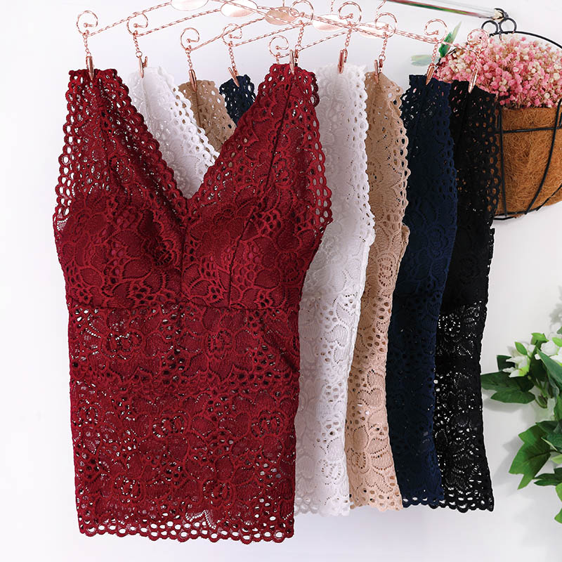 NEW Lace Crop   Top   Women Fashion Floral Lace Padded Bra   Tank     Top   V Neck Underwear Bralett Ladies Camisole 2019 Free Ship