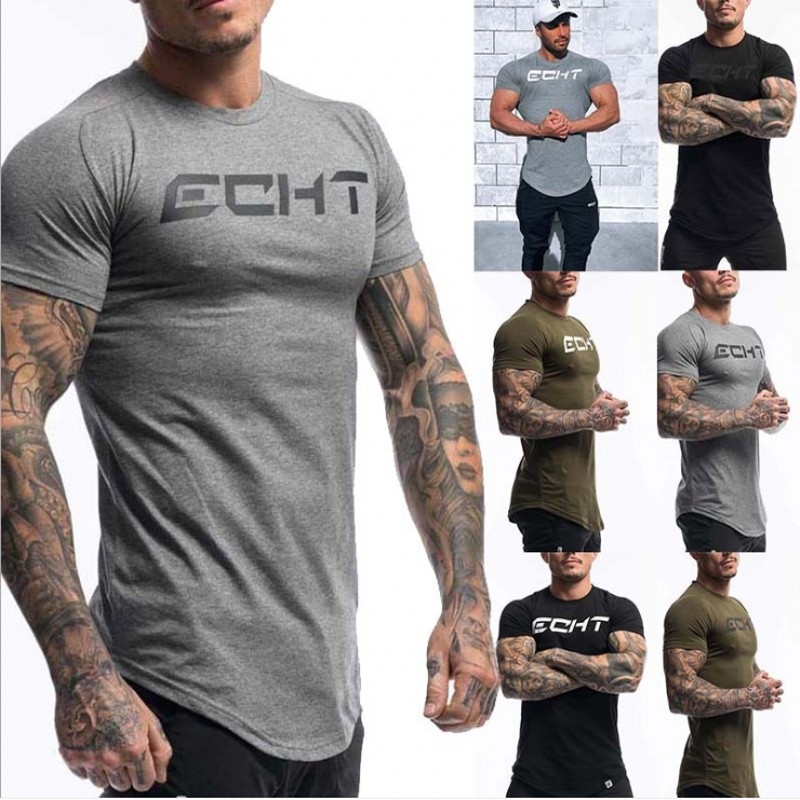 Men's Fashion T Shirt Men Tops Summer Fitness Bodybuilding Clothes Muscle Male Shirts Cotton Slim Fit Tees