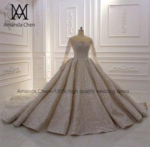Image 2 - Свадебные платья для невесты 2020 роскошное свадебное платье с длинным рукавом и бисером